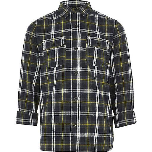 Boys green check shirt