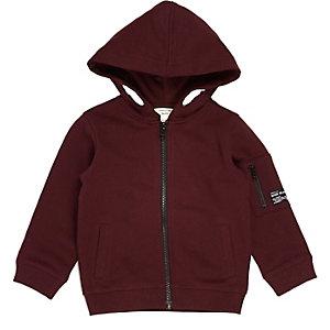 Mini boys burgundy cotton hoodie