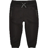 Mini boys black cotton joggers