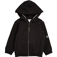 Mini boys black cotton hoodie