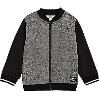 Mini boys grey color block bomber jacket