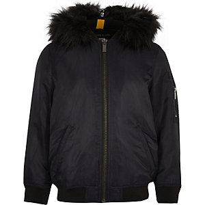 Boys navy padded MA1 bomber jacket with hood
