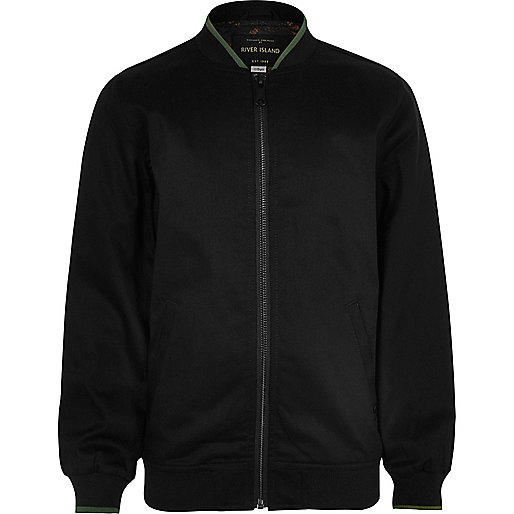 Boys black tipped bomber jacket