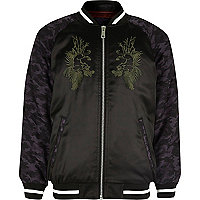Boys black embroidered satin bomber jacket