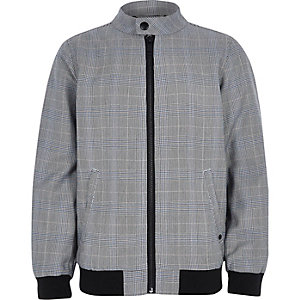 Boys grey check bomber jacket