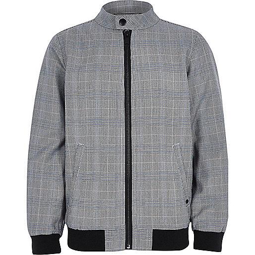 Boys grey check bomber jacket