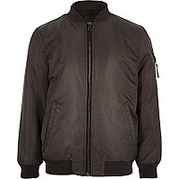 Boys dark grey padded bomber jacket