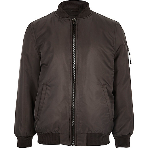 Boys dark grey padded bomber jacket