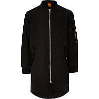 Boys black longline padded bomber jacket