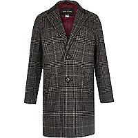 Boys grey check overcoat