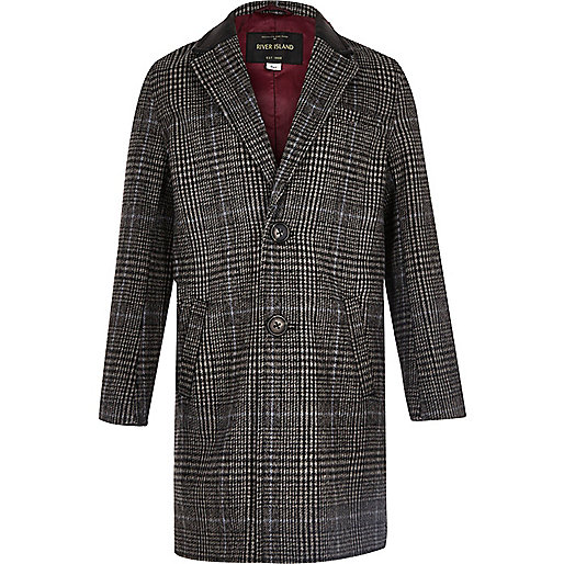 Boys grey check overcoat