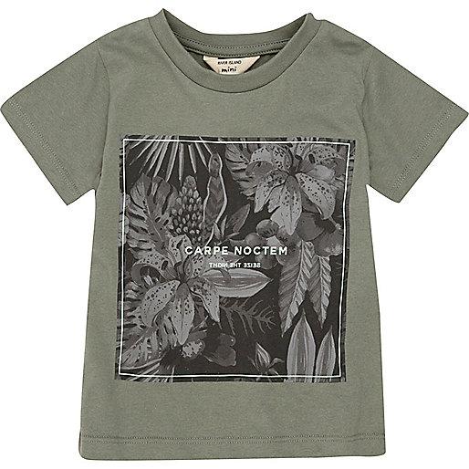 Mini boys khaki 'Noctern' print t-shirt
