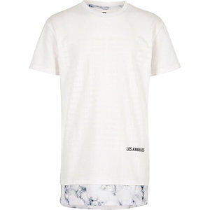 Boys white marble hem longline t-shirt