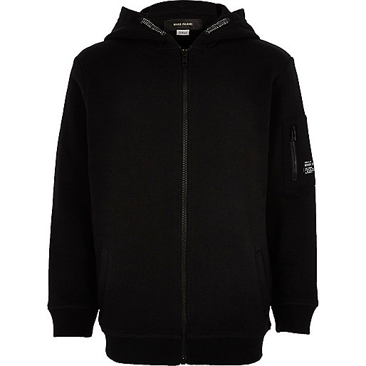 Boys black zip up hoodie