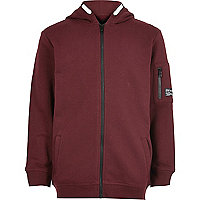 Boys burgundy zip up hoodie