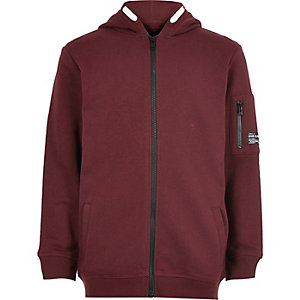 Boys burgundy zip up hoodie