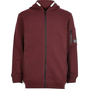 Bordeauxrode hoodie met rits voor jongens