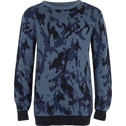 Pull camouflage bleu pour garçon