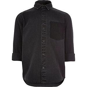 Boys black denim shirt