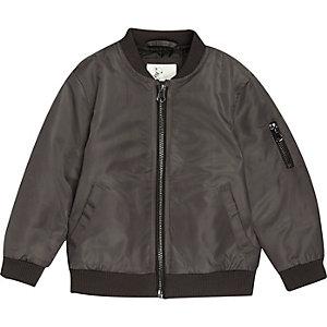 Mini boys dark grey padded bomber jacket
