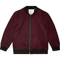 Mini boys burgundy cotton bomber jacket