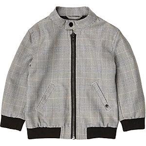Mini boys grey check bomber jacket