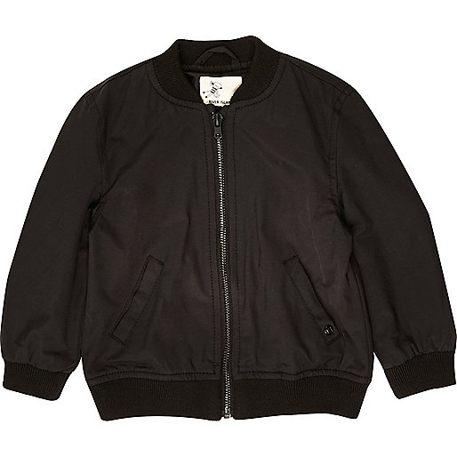 Mini boys black embroidered back bomber