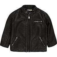 Mini boys black textured biker jacket