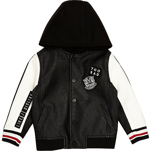 Mini boys black 'too bad' hooded bomber