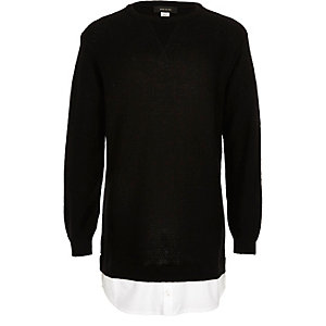 Boys black 2 in 1 shirt sweater