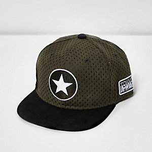 Boys khaki green star flat peak cap