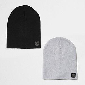Beanie in Schwarz und Grau, Multipack