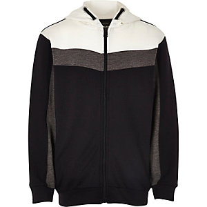 Boys navy color block zip up hoodie