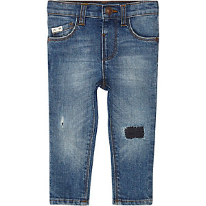 Mini boys blue ripped Sid skinny jeans