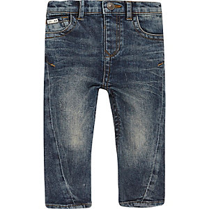 Mini boys blue wash seam jeans