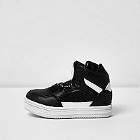 Mini boys black and white hi tops