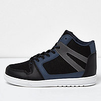 Blue tonal panel hi tops