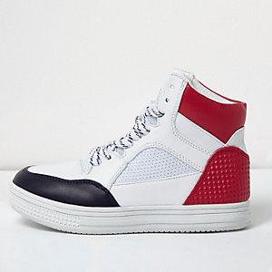 Boys white textured panel hi tops