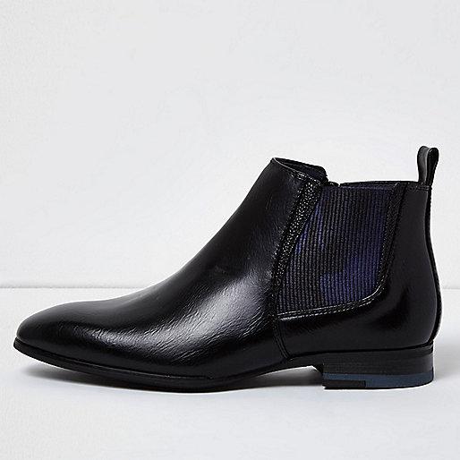 Bottines Chelsea en cuir synthétique motif camouflage noir pour garçon