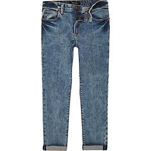Blaue Skinny Jeans in Acid-Waschung für Jungen