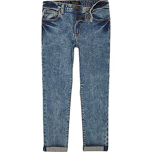 Boys blue acid wash skinny jeans