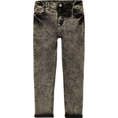 Zwarte acid wash skinny jeans voor jongens