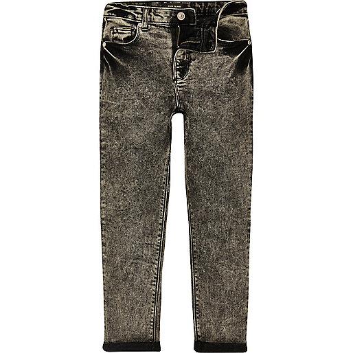 Boys black acid wash skinny jeans