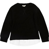 Mini boys black 2 in 1 shirt jumper