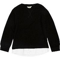 Pull chemise 2 en 1 noir mini garçon