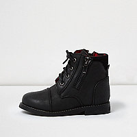 Mini boys black work boots