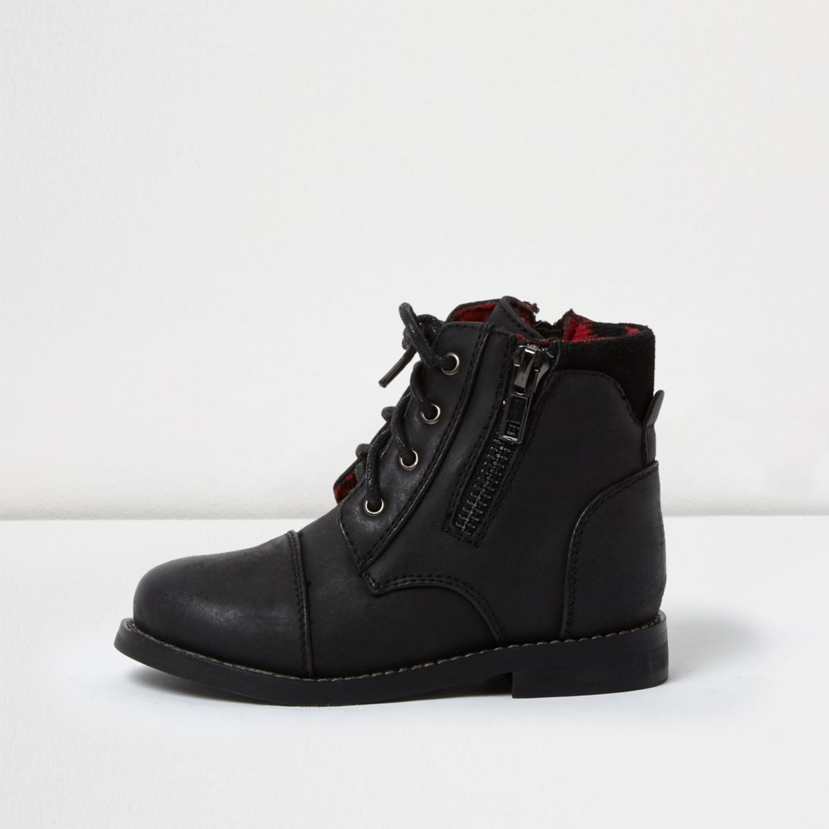 Mini boys black work boots