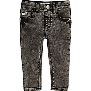 Mini boys black acid wash skinny jeans