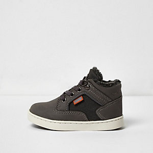 Mini boys grey fleece lined hi tops