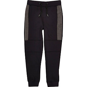 Boys navy sporty panel joggers